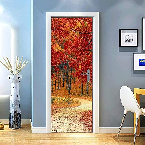 KGKBH Pegatinas de puerta 3D Rojo maderas plantas paisaje. 95x215cm Creativo mural de puerta Vinilo Impermeable Autoadhesivo Removible Papel Tapiz PVC Sala De estar Cuarto De Murales Posters Decoracio