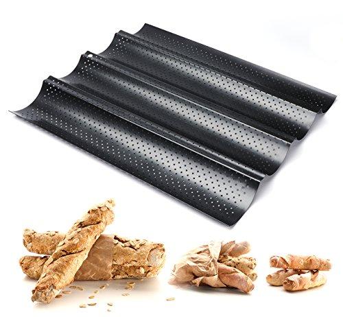 ilauke 4 Mulden Baguette-Backblech, 38 x 32 x 3 cm Baguetteblech für 4 Baguettes, Mit Antihaftbeschichtung, Gleichmäßige Erhitzung und Gute Wärmeleitfähigkeit, Für Familie, Restaurant, Bäckerei usw