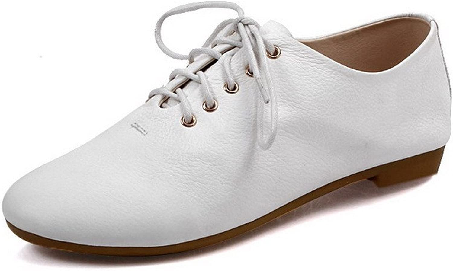 WeenFashion Womens Closed Round Toe Cow Leather Soft Material Micro Fiber Solid Flats, White, 7.5 B(M) US
