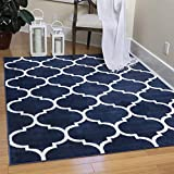 Ottomanson Royal Collection Trellis Design Area Rug, 5'3' x 7', Navy