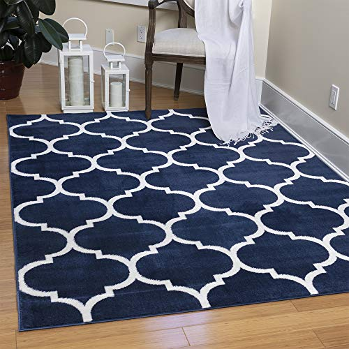 Ottomanson Royal Collection Design Trellis Area Rug, 5'3'X7', Navy, 36 Sq Ft