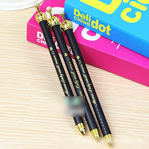 DzdzCrafts Set of 8 Cute Metal Gold Crown Black Retractable Rollerball Gel Ink Refill Pen Set 0.5mm Fine Point Black Ink Photo #2