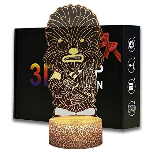 Luz de noche 3D para niños, Chewbacca 3D lámpara de cabecera 16 colores cambio automático interruptor táctil con control remoto para regalos