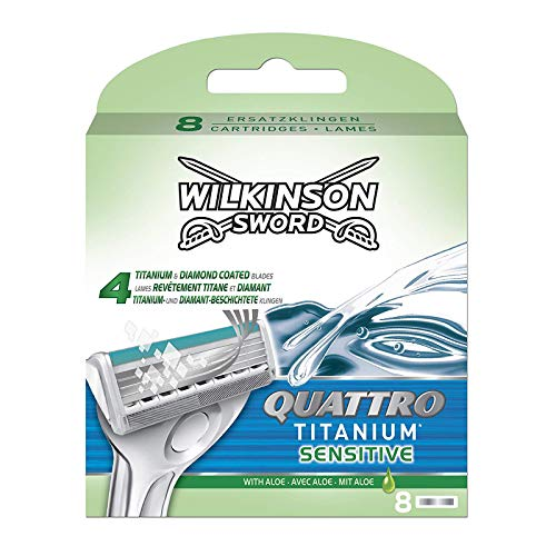 Wilkinson Sword Quattro Titanium Sensitive Refill Razor Blade Cartridges - Pack of 8 Cartridges
