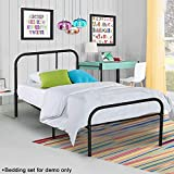 Voilamart Metal Bed Frame Twin Size Black with 6 Legs Platform Mattress Foundation Headboard Footboard No Box Spring Needed for Boys Kids Adult Bedroom