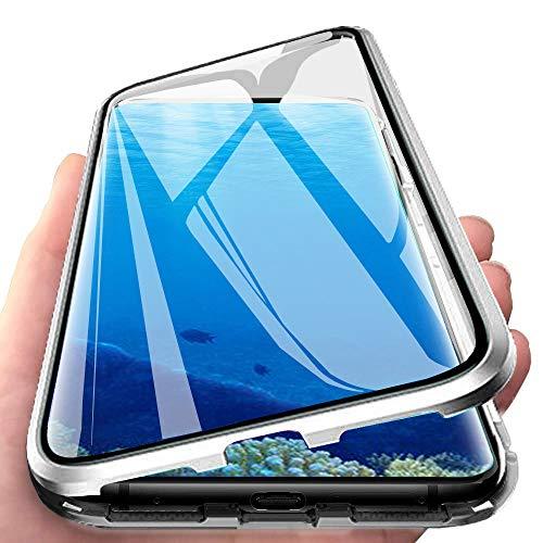 Coque pour Samsung Galaxy S8 Adsorption Magnétique Étui 360 Degré Protection Housse Haptique Ultra Mince Verre Trempé Aimant Fort Cadre Aluminium Antichoc Métal Flip Cover