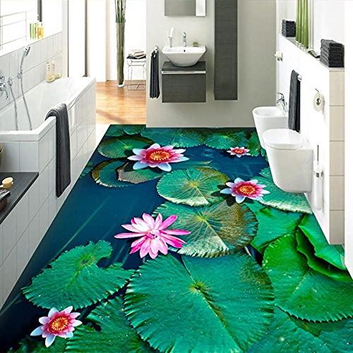 Papel pintado de foto personalizado Lotus Pond Baño 3D Suelo Pintura Mural Sala de estar Restaurante Papel de pared de vinilo autoadhesivo-150x105cm