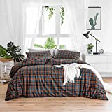 SUSYBAO 3 Piece Duvet Cover Set 100% Cotton Queen Size Blue and Orange Tartan Plaid Bedding Set 1 Checkered Striped Duvet Cover with Zipper Ties 2 Pillow Cases Luxury Quality Soft Comfortable Durable