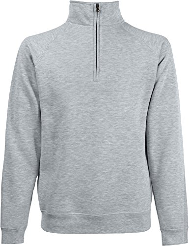 Fruit of the Loom Herren Zip Neck Sweat Sweatshirt, Grau (Heather Grey 123), Small