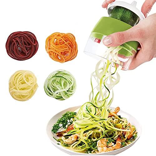 LSEEKA Affettatrice a spirale 4 in 1 tagliaverdure a spirale manuale per paghetti di verdure, carote, cetrioli, zucca, zucchine, patate