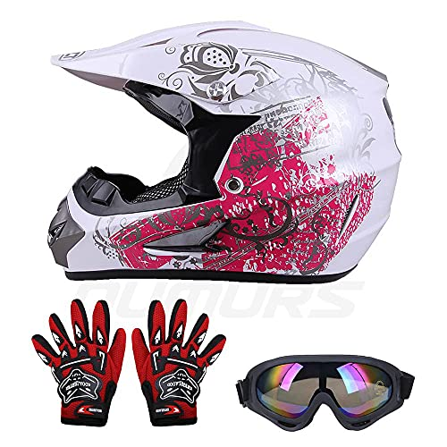 OUMURS Kids Children Helmet Gloves Goggles Youth Helmets For boys and girls Motorcycle Dirt Bike ATV Motocross Off-Road (Style:Spider web/Cartoon/Drink Tattoo/Butterfly) (Pink Butterfly,XL)