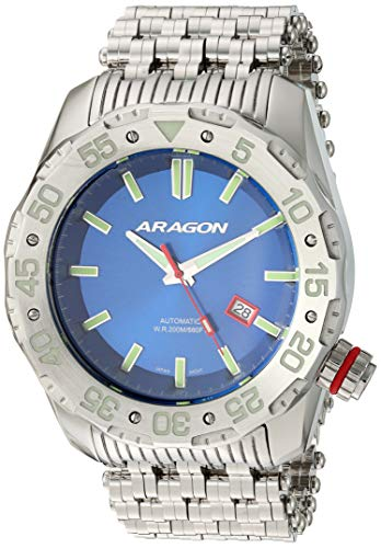 Aragon Men's Sea Charger Automatic Stainless Steel Strap, Silver, 29 Casual Watch (Model: A081BLU)