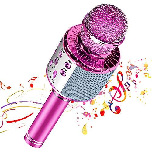 【Nuevo diseño 2020】 Micrófono de karaoke inalámbrico Bluetooth, Grabador de reproductor de altavoz de micrófono portátil, Máquina de altavoz de karaoke recargable(Pink)