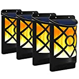 Fitybow Solar Flame Lights Outdoor, Waterproof Flickering Flame Solar Lights Dark Sensor Auto On/Off 66 LED Solar Powered Wall Mounted Night Lights Lattice Design for Patio Deck Driveway (4Packs)