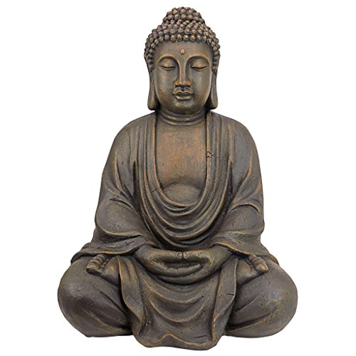 Design Toscano Bouddha Méditatif du Grand Temple Statue de Jardin, Moyen 66 cm, polyrésine, pierre grise