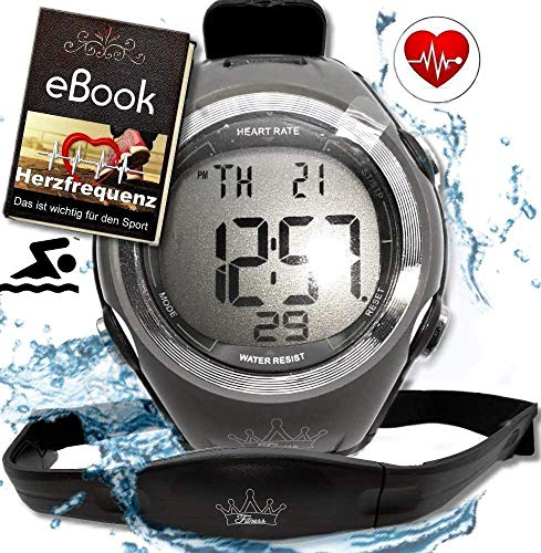 bestbeans© Heartbeat Puls-Uhr mit Brustgurt Herzfrequenz-Messung & Fitnesstudios ANT Trainingsbereich, Kalorienverbrauch Fettverbrennung Sportuhr Wasserdicht (Schwimmen)