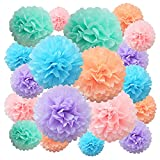 Pompones de papel de seda Flor de papel 22 piezas púrpura, azul, melocotón, rosa Bola de flores de papel para cumpleaños, despedida de soltera, boda, bebé, despedida de soltera, decoración de fiesta