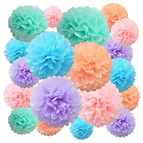 Seidenpapier Pompoms Papierblume 22 Stück lila, blau, pfirsich, rosa Papierblumenball für Geburtstag Bachelorette Hochzeit Baby Brautdusche Partydekoration