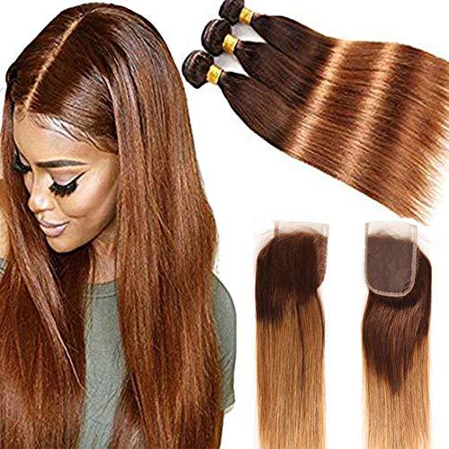 Ombre Brazilian Straight Hair Bundles 8A Ombre Brazilian Virgin Straight Human Hair 3 Bundles 100% Unprocessed Virgin Hair Bundles 2 Tone Ombre Bundles(14'16'18' ,T4/30)