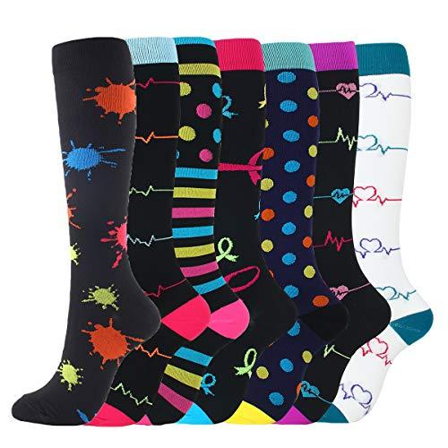 CAMLAKEE Calcetines de Compresion Mujer Hombres Medias de Compresion para Viajar, Vuelo, Correr, Embarazo, Enfermera