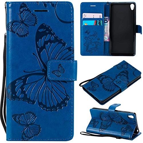 Bravoday Sony Xperia E5 Hülle Handyhülle Sony Xperia E5 Schutzhülle [Kartenfach] [Magnetverschluss] TPU Soft Shockproof für Sony Xperia E5-Blau