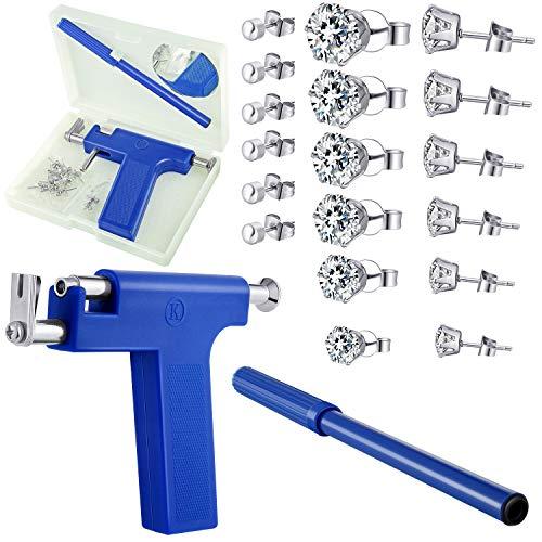 Ear Piercing Kit Nose Piercing Tool Stainless Steel Body Ear Navel Piercing Machine with 12 Pairs Stud Earrings Piercing Jewelry Set (Blue)