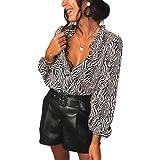 Camisa de Manga Larga para Mujer Top Blusa de Cuello en V con Estampado Animal de Cebra Crop Top Sexy y Elegante Camisa Informal Suelto para Casual Oficina (Blanco, L)