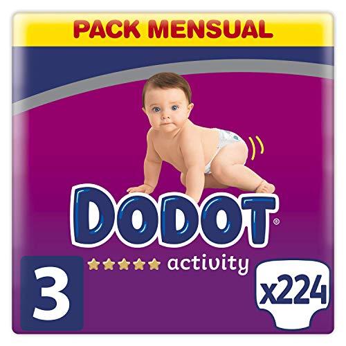 Dodot Pañales Bebé Activity Talla 3 (6-10 kg), 224 Pañales con Ajuste Más Resistente