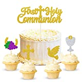 25 Pcs First Holy Communion Cake & Cupcake Toppers, First Communion Decorations, God Bless Cake Sticks For Baby Baptism God Christening Confirmation Supplies