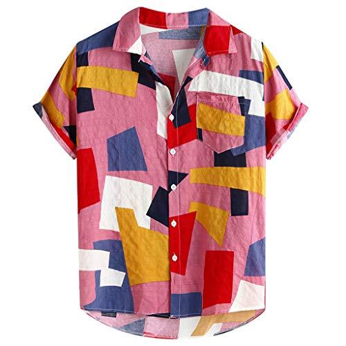 leicht Herren Henley-Shirt, Kurzarm Aloha Freizeit Hemd Button Down Hemden Shirts Bequem Leinen Sommerhemden Loose Fit