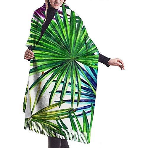 Hermoso abanico de acuarela Hojas de palma Colorido Selva Follaje Chal Abrigo...