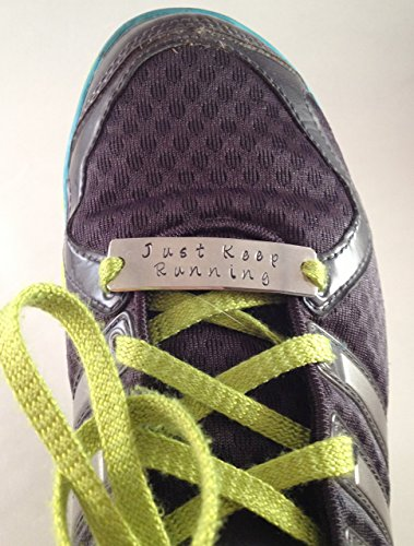 Hand-Stamped Shoelace Plate for Fitness or Running Motivation
