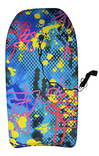 84cm Boogie Board Bodyboard Surf Board Float Kids/Adults & Leash Plug (Graffiti)
