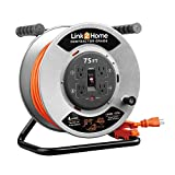 Link2Home CONTRACTOR GRADE Metal Cord Reel 75 ft. Extension Cord 4 Power Outlets – 12 AWG SJTW Cable. Heavy Duty High Visibility Power Cord.
