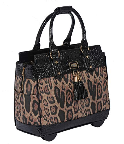 LONDON LEOPARD Rolling Laptop Bag or Rolling Briefcase