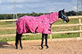 250gsm Fleece Breathable Cooler Moist Anti Sweat Fleece Rug Pink Horse 5'9''