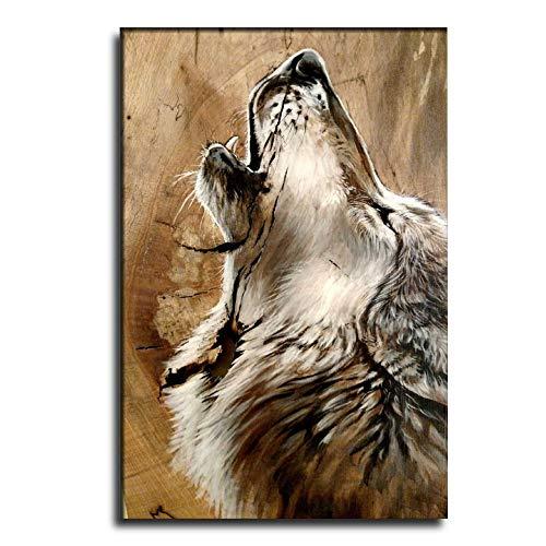 Everythingwushu Pôster de decoração de quarto A lobo solitário, uivo, pintura decorativa, arte de parede, pôsteres para sala de estar, pintura de quarto 28 × 42 polegadas (70 × 105 cm)