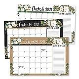 White Floral 2021-2022 Desk Calendar, Large Monthly Wall Planner, 18 Month Academic Desktop Calendar or Fridge Planning Blotter Pad, Magnolia Notes Section for Teacher Family or Business Office 11x17'