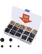 Ojos de Seguridad, 150 Piezas Ojos de Muñecas Pequeños Ojos de Manualidades de 6 mm/8 mm/9 mm/10 mm/12 mm con Arandelas, Ojos de Seguridad de Plástico Negro para Amigurumi/Marionetas/Hacer juguetes