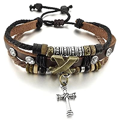 HITOP Unisex Alloy Genuine Leather Bracelet Bangle Rope Cross Surfer Wrap Adjustable