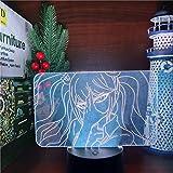 LED illusion Anime lights Anime Anime Danganronpa Junko Enoshima Figura de luz acrílica 3D lámpara de color cambiante luz nocturna para regalo de Navidad Home Decor MAOJIE