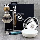 Haryali London 6 Pc Mens Grooming & Shaving Kit 3 Edge Razor With Silver Tip Badger Hair Shaving Brush, Stand, Soap, Bowl and Alum Perfect Set For Men