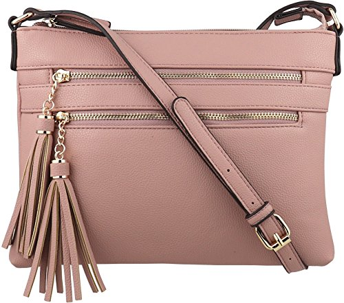 B BRENTANO Vegan Multi-Zipper Crossbody Handbag Purse with Tassel Accents (Blush(N))