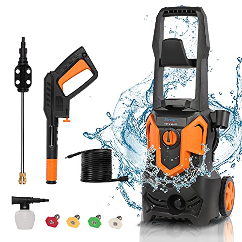 1650W Electric Pressure Washer, 3000PSI 1.8GPM High Power Washer Machine with , 5 Quick Connect Spray Nozzles and Detergent Tank, for Cleaning Homes, Cars, Decks, Driveways, Patios