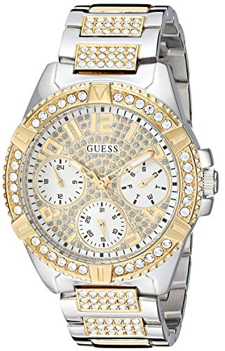 GUESS Stainless Steel + Gold-Tone Crystal Watch with Day, Date + 24 Hour Military/Int'l Time. Color: Silver/Gold-Tone (Model: U1156L5)