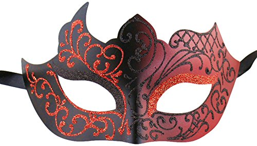 Luxury Mask Assorted Venetian Party Mask, Black/Red, One Size