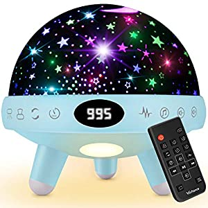 Baby Night Light and Sound Machine Star Projector Night Light for Kids Girls Boys Children Infant Toddler Sleep Soother Nursery Bedroom Bedside Lamp with Music Adapter Timer Remote Contro
