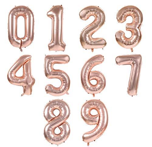 Pack 10 Globo Número 0-9 Multicolor Decoración de Boda Aniversario Cumpleaños Suministros de Fiesta Happy Birthday para Adultos y Niños Apto para Helio (Oro rosa, 100cm)