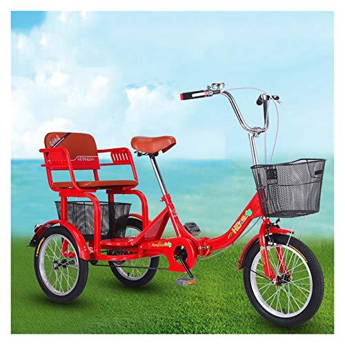 ZFF Plegable Triciclo para Adultos con Cesta Y Asiento Trasero 16 Pulgadas Bicicleta Tres Rueda con Campana para Personas Mayores Mujeres Hombres Picnics Y Compras Rojo