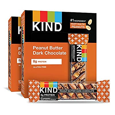 KIND Bars, Peanut Butter Dark Chocolate, 8g Protein, Gluten Free Bars, 1.4 Ounce,24 Count